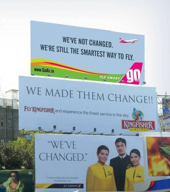 Vi piacciono le brand wars? Ecco dieci campagne pubblicitarie senza esclusione di colpi! Qui Go Air Vs Kingfisher e Jet Airways